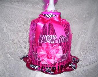 Baby Girl Diaper Cake (Pink & Zebra Themed)