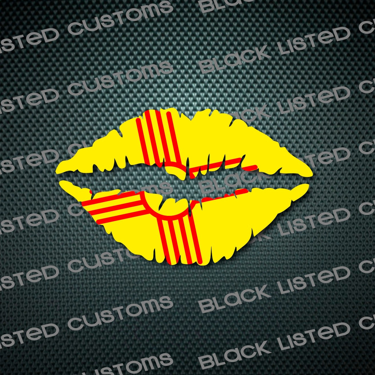 New Mexico Zia State Flag Lips Custom Vinyl Snowboard Kiss