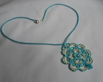Blue lace pendant necklace, blue necklace, blue pendant, lace necklace, tatted necklace, tatting jewelry