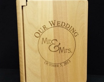 Custom Wood Wedding Photo Album- 100 (4x6 Photos)
