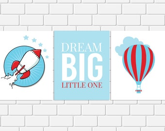 Nursery Printable Art Set Dream Big Little One Quote Rocket Hot Air Balloon Red Blue Nursery Print Wall Art, 8 x 10 Instant Download