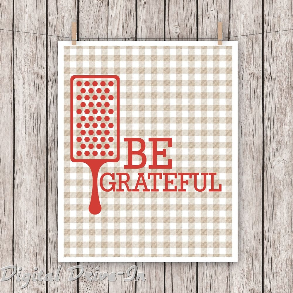 Be Grateful Kitchen Art: Kitchen Art Typography Print Be Grateful Greatful Retro Wall
