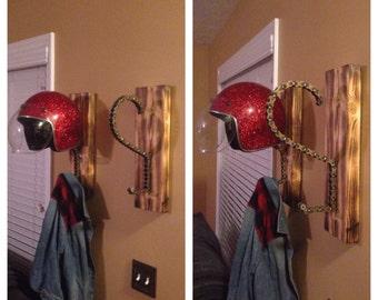Custom, Handmade, Helmet Rack and Jacket Hanger