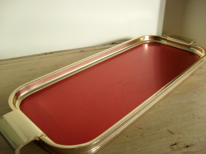 Retro Tray Vintage Woodmet Drinks Tray Retro Bar Tray 1950s