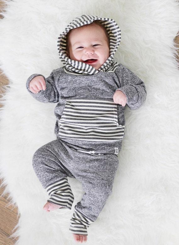 dark grey stripe hoodie newborn baby hoodie french terry hoodie baby jogger outfit baby girl sweatshirt modern baby clothing