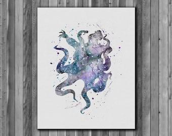 Ursula DISNEY, The Little Mermaid poster - Art Print, instant download, Watercolor Print