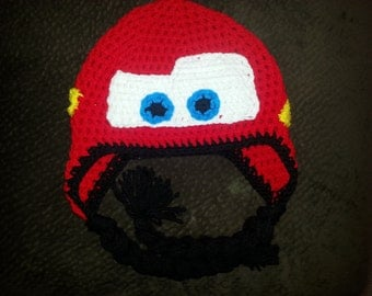 lightning mcqueen crochet hat