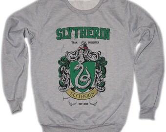 Slytherin Harry Potter Hogwarts Quidditch Team Festival Retro VTG Jumper Sweater Sweatshirt Long Sleeve Crewneck Round neckline S M L