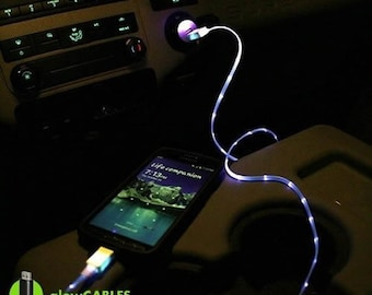 For iPhone 5 6 7 Custom Blue Led Usb Cable Cell Mobile Phone Charger Car