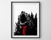 Godzilla poster, acrylic painting, art print, black and white art, movie poster, godzilla art, black and red, gojira text art, monster A3