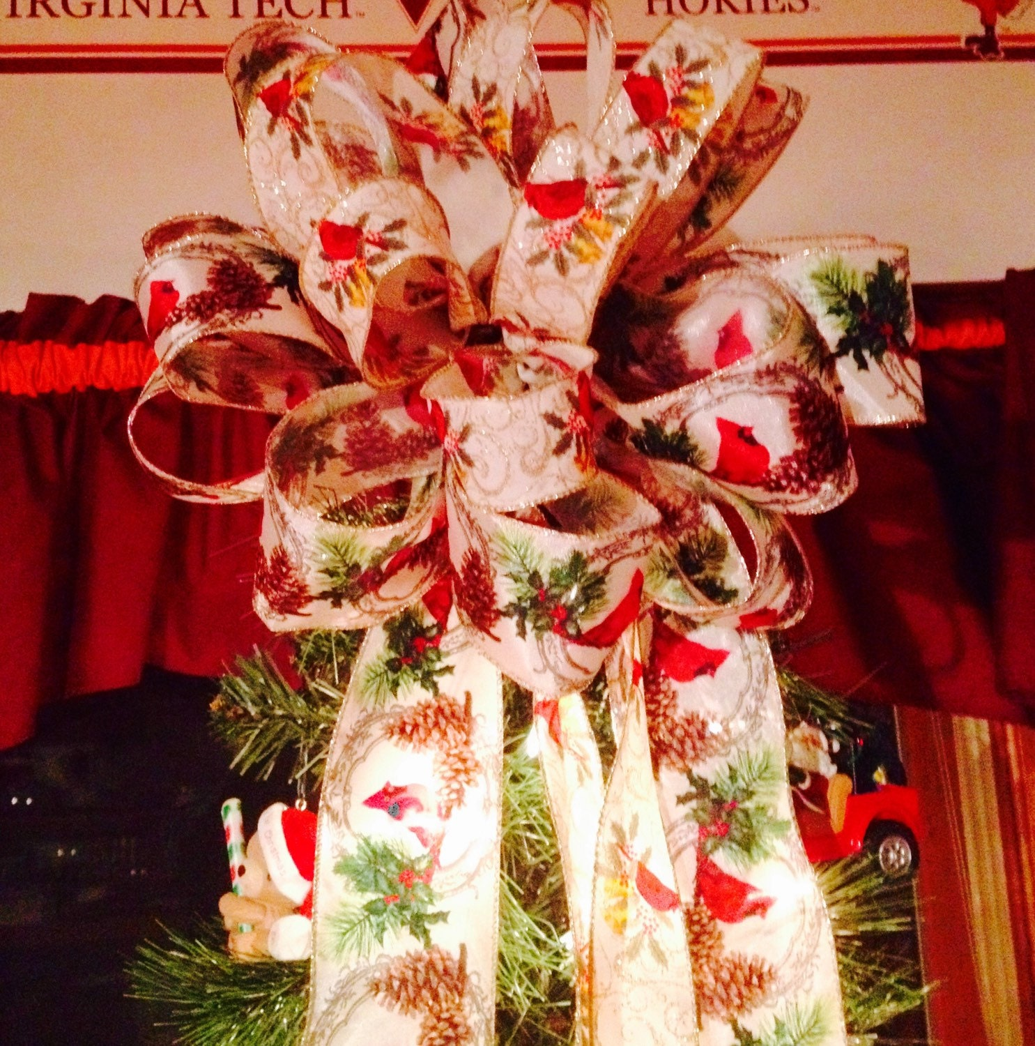 Birds On Christmas Tree: Christmas Tree Topper Bow Cardinal Birds By