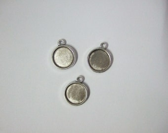 50 antique silver 12mm round blanks trays settings pendant double sided DT134