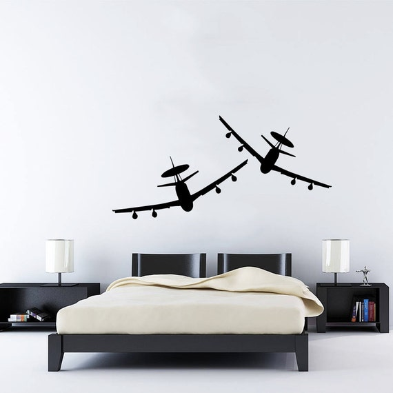 Items similar to wall decal vinyl sticker decals art home for Aeroplane wall mural