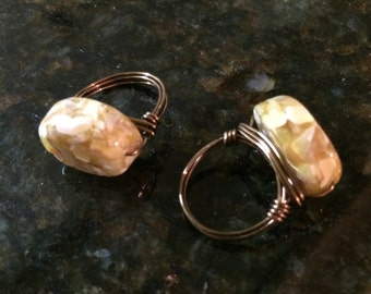 Custom made stone wire rings