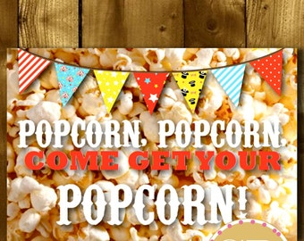 PRINTABLE // Carnival party sign // Carnival sign // Circus party sign // Circus sign // Circus party // Popcorn sign // Food sign
