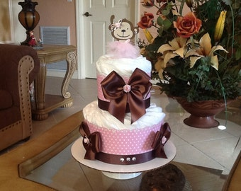 Baby girl diaper cake monkey themed baby hower gift/centerpiece pink and brown diaper cake