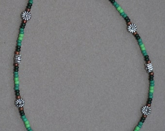 Green Floral Beaded Anklet