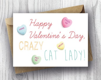 Friend Valentine Card Printable, Crazy Cat Lady Valentine's Day Card, Funny Cat Valentine Card, DIY Valentine's Day Card, Card from the Cat,