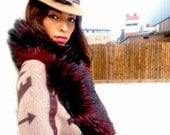SALE! Luxurious & Divine Black and Bright Mahogony Faux Fur Stole, the epitome of luxury in Faux Fur Collars this season
