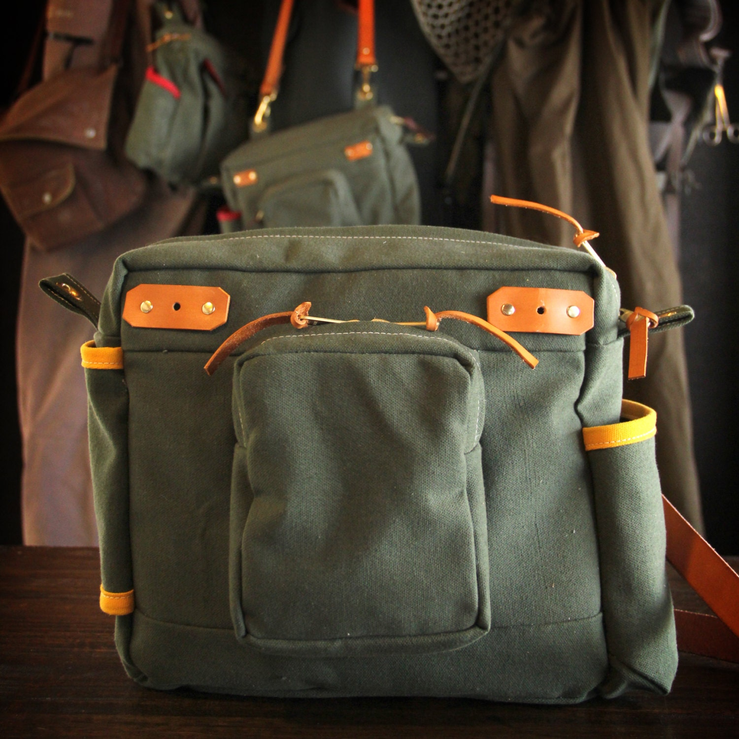 Waxed canvas and leather fly fishing bag standard strap for Fly fishing luggage