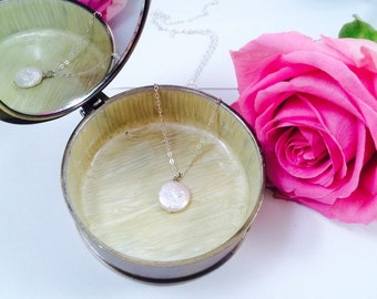 Delicate Freshwater Coin Pearl Necklace Pendant