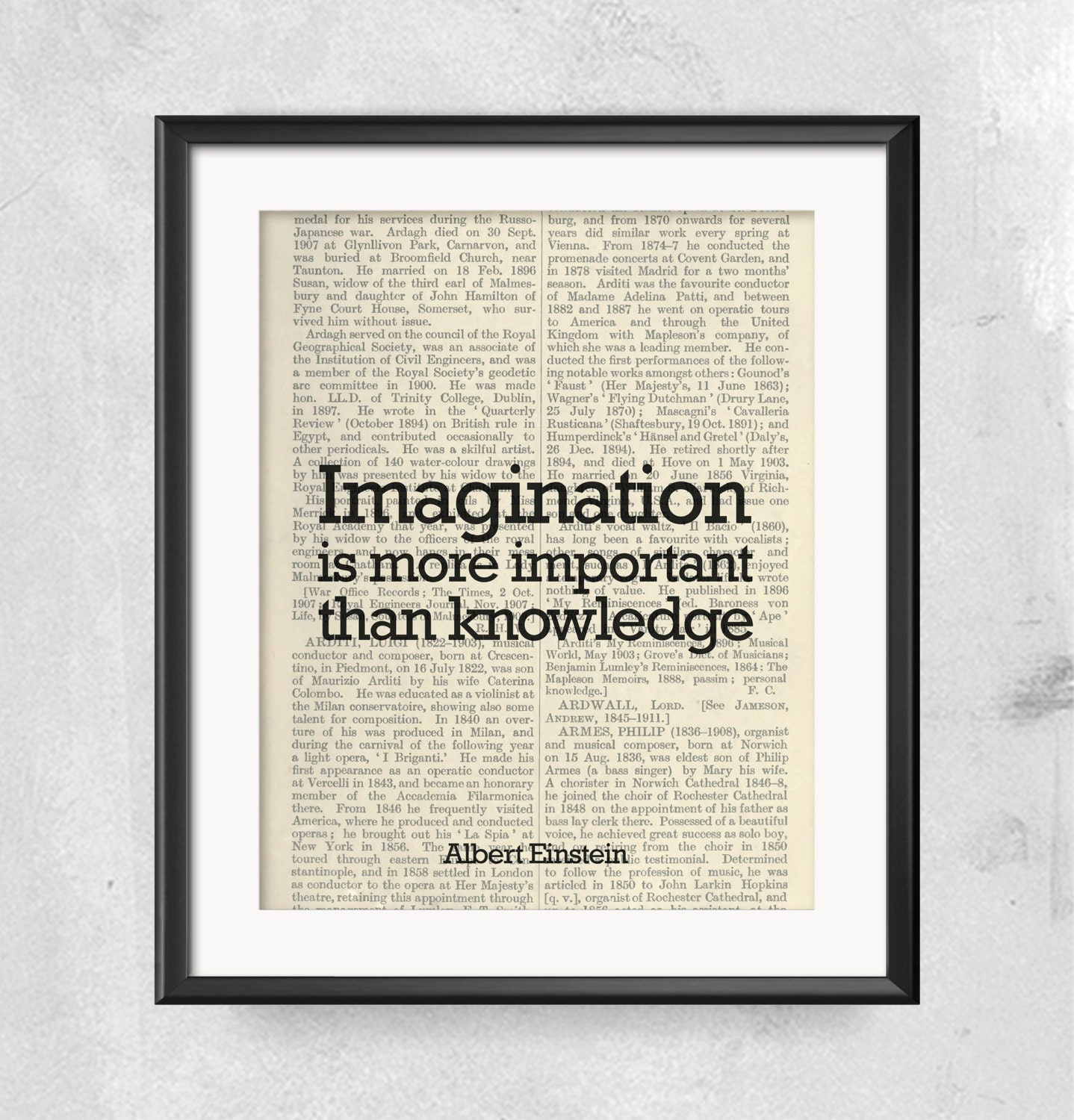 Einstein Quotes Imagination Is More Important Than Knowledge: Albert Einstein Quote, Inspirational Quote Print