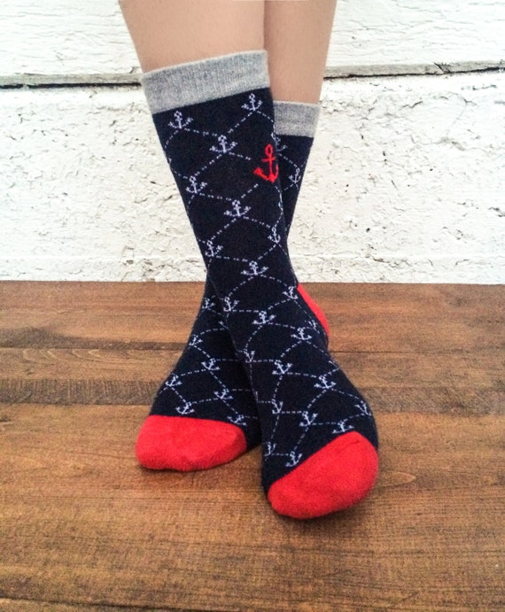 Anchor Socks - Nautical - Fun, colorful socks - Dress Socks - casual socks