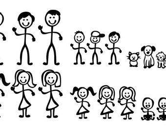 Stick Figure People Family - Vector Art SVG Files
