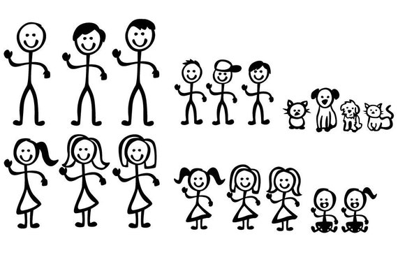 Stick Figure People Family Vector Art SVG Files