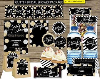 Instant Download- Glitter bridal shower Party pack printable -A complete kid bridal shower party-for persona use only