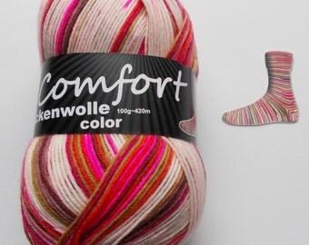 sock yarn, rose-pink-striped, 4ply (215.03)
