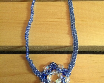 Blue Crystal and Seed Bead Necklace - FREE U.S. SHIPPING