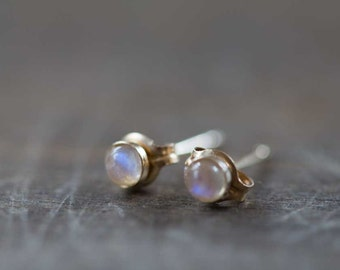 Tiny Rainbow Moonstone Stud Earrings on 14k Gold Filled or Sterling Silver Post, 3mm Moonstone Bezel Set Gold Filled Gemstone Earrings