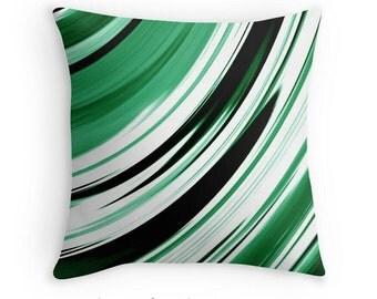 Green Throw Pillow, Green Abstract Pillow, Green Decor, Green Pillow Cover, Green Pillow Case, Green Bedroom, Green White Black Pillow