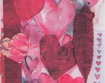 leaf heart lady, valentine card, hearts, watercolor paper, pastel, collage