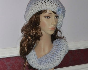 Womens Slouchy Hand Knitted beanie Hat and Eternity Cowl with crochet flower detail