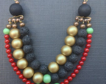 BIB Statement Necklace // Color Block // Layered beads ART Deco Necklace // BLACK -Gold - Mint Green - Red  Necklace // Beaded Necklace