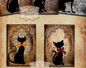 CAT SILHOUETTES Digital Collage Sheet  Printable instant download  Vintage style scrapbooking digital background greeting cards decoupage