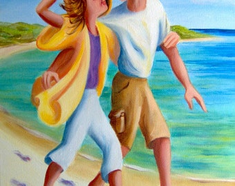 Artist Print/ Home Decor/ Great Gift/ Happy Couple Walking on the Beach by Scarlet Elora 8x10