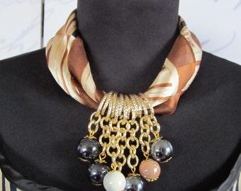 Beige Scarf Necklace