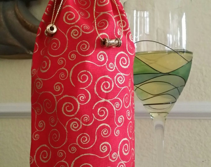 Wine Bag-Gourmet-Glitter Collection (Gold Swirls n' Red)