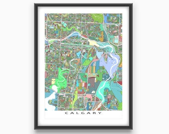 Calgary Map Print, Calgary Alberta Canada, City Art Map Poster