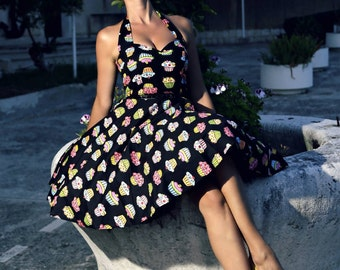 Cupcake Dress Rockabilly Dress Birthday Dress PinUp Dress 50s Retro Dress Summer Dress Sun Drress Swing Dress Party Dress Plus Size Clothing