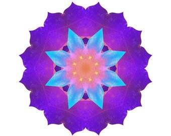 Quartz Crystal, Lotus Mandala Wall Art, 5x5 to 8x8 Mounted Photo, Reiki Energy, Spiritulal Art, Rainbow Art, Sacred Geometry, Chakra Art
