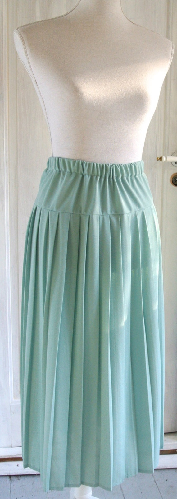 vintage 50 s 60 s pleated skirt mint by