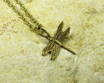 Necklace Flight of the Dragonfly II, Dainty Necklace, Necklace Chain Gold-Plated Brass Dragonfly Dragonflies, Vintage Style Handmade