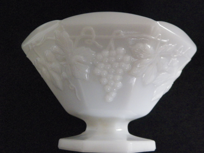 White Milk Glass Grape Design Large Pedestal by ...