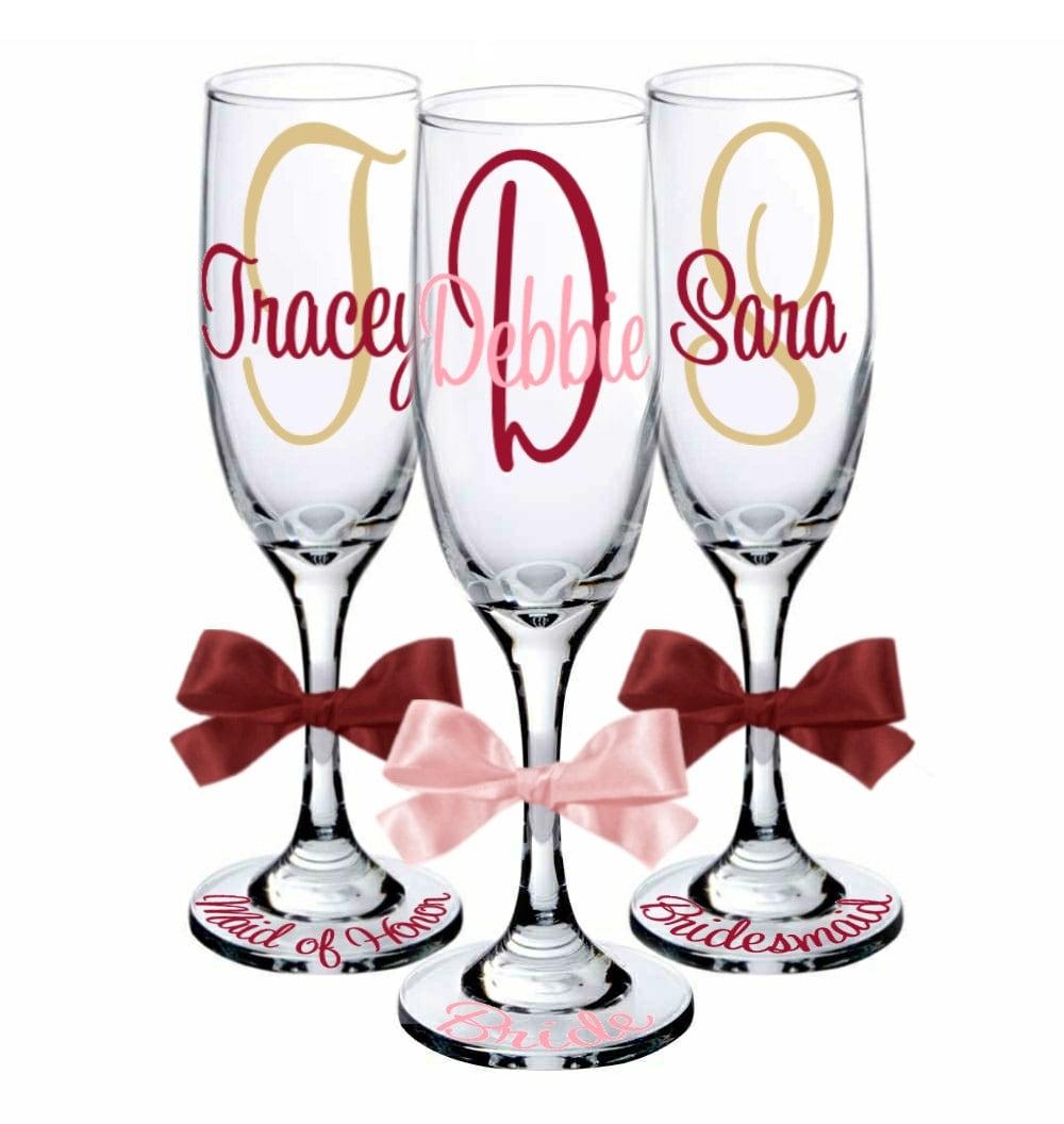 9 personalized champagne flute glasses for bride groom. Black Bedroom Furniture Sets. Home Design Ideas