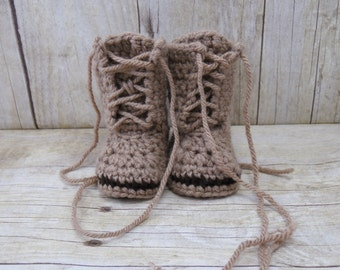 Crochet Baby Combat Boots - Birth Announcement - Gender Reveal - Multiple Sizes
