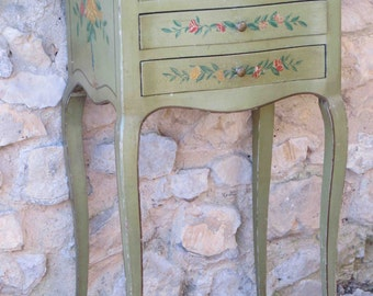 SOLD!!  Pretty, painted green side table with floral detail